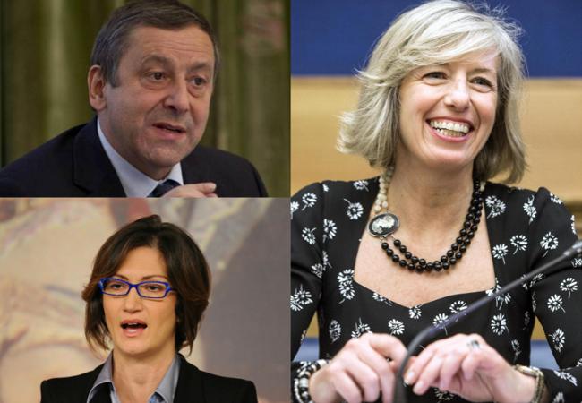 I Ministri dell'istruzione Profumo, Gelmini e Giannini